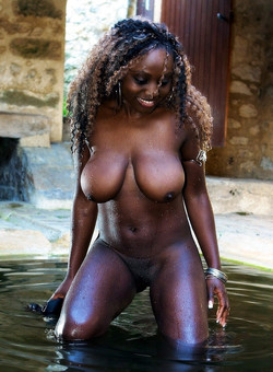 Sexy black girl showing her big..